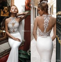 Wholesale Embellished Lace Wedding Dresses - elegant chic fit and flare sheath wedding dresses 2018 julie vino bridal halter neck heavily embellished bodice rasor back chapel train