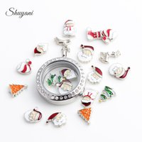 Wholesale Style Ruby Jewelry - Hot Christmas styles Santa Claus Christmas tree DIY Locket Jewelry Accessories for charm glass floating locket