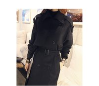 Wholesale Spring in the new long double breasted temperament Slim black coat jacket female spring and autumn large size women s clothing