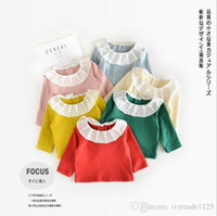 Wholesale Kid Korea T Shirt - Ins Korea candy color Girls Kids Long Sleeve ruffle pet pan collar solid color all match t shirt baby kid fall comfortable shirt 0-2T