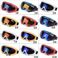 крест солнцезащитные очки оптовых-Унисекс красочные лыжи мотоцикл Goggle на открытом воздухе спортивные солнцезащитные очки ветрозащитный Cross-Country Antifog очки 12 цветов Бесплатная доставка