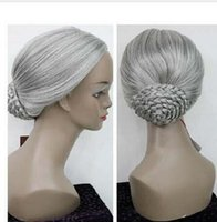 Wholesale Granny Dress - new light grey silver wig fancy dress party costume performance with granny Female dish hair peruca Cosplay Wigs
