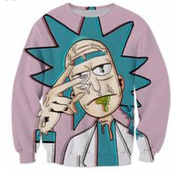 Wholesale Cartoon Yellow Jacket - New Fashion Couples Men Women Unisex Cartoon Rick and morty Funny 3D Print No Cap Jacket Hoodies Sweater Pullover Top S-5XL W4