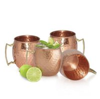 Wholesale Hammer Handles Wholesale - Hammered Moscow Mule Cups Copper Plateing Stainless Steel Mug Brass Handle Hammered Moscow Mule Mug with Solid Brass Handle OOA1071