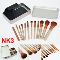 Wholesale metal shadow box - Makeup Brushes NK3 face and eyes Brushes Kit 12 pieces Professional Makeup Brush set Kit With Iron Box cosmetics Brush Eye shadow brushes