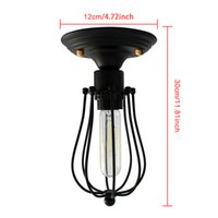 Wholesale Industrial Light Bulb Cage - New Designed Industrial Vintage Ceiling Light (with 1 bulb) Style Metal Cage Shade Art Painted Finish Fixture Free Shipping