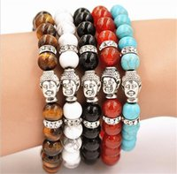 Wholesale Tiger Eye Dragon Wholesale - 50pcs 5colors Men's Beaded Buddha Bracelet, Turquoise, Black Onyx, Red Dragon Veins Agate, Tiger Eye Semi Precious stone Jewerly R005