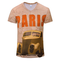 Wholesale Cool Funny Cartoons - Summer Men's 3D Print T-shirt Tees Cotton Short Sleeve Cartoon Characters V-neck Slim t Shirt Funny Casual Cool Autumn