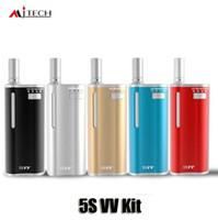 Wholesale e cigarette mod vv - 100% Original Mjtech 5S VV Kit 65mAh Battery Box Mod Wax Oil 2 in 1 Vaporizer Atomizer E Cigarette Vape Kits