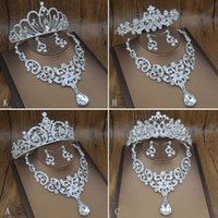 Wholesale Tiara Necklace Set Pearl Crystal - More Style Tiaras Jewelry Set Tiaras Crown Earrings Necklace Bridal Jewelry Shinny Pearl Accessories 2017 July Style