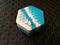 yapışmaz mum toptan satış-Yapışmaz Bal arısı balmumu konteynerler 26 ml altıgen bal arısı silikon konteyner gıda sınıfı kavanozlar dab aracı depolama kavanoz yağ tutucu için buharlaştırıcı