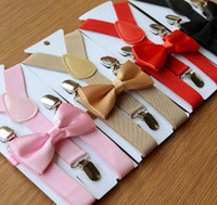 Wholesale Boys Child Suspenders - Suspenders and Bow Tie Set Braces Elastic Y-back for Children Kids Red Pink Black Blue Boys Girls Suspenders and Bow Tie 626
