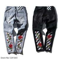 Wholesale Destroy Harem - Wholesale- TOP quality off white embroidery jeans Ripped Denim Knee Hole Zipper mens harem pants Destroyed Torn joggers Biker fear of god