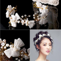 Wholesale Handmade Bow Hair Accessory - New Arrival 2018 bride wedding headbands lace bows bridal headpieces handmade beading formal party women's hair accessories