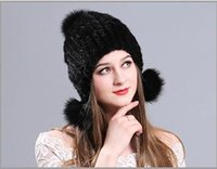 Wholesale Ear Painting - Autumn and winter mink 8 colors three ball cap hat knitted fur Earmuffs Ear cap painted lady