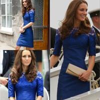 Wholesale Knee Long Fairy Dress - Elegant Jewel evening gowns Sheath Knee-Length Celebrity dresses Runway 2017 pregnant Royal Blue Formal dress 1y plus size prom fairy gowns