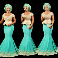 ingrosso abito nero peplum sexy-Aso Ebi Black Girls Mermaid Abiti da sera Scoop Cap maniche Peplo africano Prom Dress Lungo pizzo Appliques Beads formale Cocktail Party Dress
