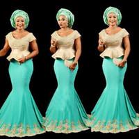 siyah kaşık toptan satış-Aso Ebi Siyah Kızlar Mermaid Abiye giyim Scoop Cap Kollu Peplum Afrika Balo Elbise Uzun Dantel Aplikler Boncuk Örgün Kokteyl Parti Elbise