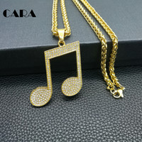 Wholesale Dog Musical - Music Note Necklaces Pendants Trendy Cubic Zirconia Crystal Gold Color alloy Luxury Musical Jewelry For Women Gift hip hop necklace CAGF0249