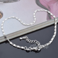 Wholesale Trendy High Fashion Jewelry - Hot Sale High Quality Plated Silver Anklets Fashion Jewelry Simple Figaro Chain Anklet Bracelet Factory Price Trendy Jewelry MDA008