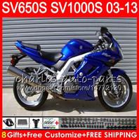 Wholesale black white fairings for sale - Group buy 8Gifts For SUZUKI SV1000S SV650S NO29 blue black SV1000 S SV650 S SV S S Fairing