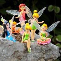 Wholesale Tinkerbell Toy Doll - 6pcs Set Christmas Kids Gift Tinkerbell Dolls Flying Flower Fairy Children Animation Cartoon Toys Girls Dolls Baby Toy RT016