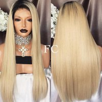 Wholesale Blonde European Hair Virgin Wig - Diosa Ombre Color Blonde Full Lace Wig With Natural Hairline Virgin Hair Silky Straight Lace Front Human Hair Wigs Glueless Lace Wig Blonde
