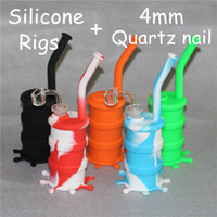 Wholesale Water Clear Silicone - Colorful Hookahs Silicone Bongs with glass downstem silicone water pipe dab rig 14 mm joint all Clear 4mm thickness 14mm male quartz nails