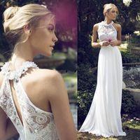 Wholesale Simple Floral Chiffon Sheath - Sexy 2017 Bohemia Casual Sheath Wedding Gowns Cheap Riki Dalal Wedding Dresses Halter Lace Flowers Chiffon Long Bridal Formal Party Wear