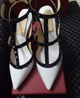 Wholesale Daily Dress - 2017 Brand Design Stylish Woman Pointed Patent Leather Shoes With Double Buckle Shoe Party And Daily heels Shoes 35-42