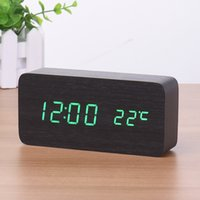 LED digitaler alarm LED Digital Alarm Despertador Sound Control USB / AAA Temperaturanzeige Elektronische Holz 4 Farben Desktop Tischuhr