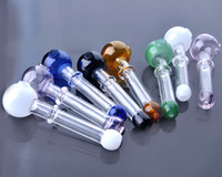 Wholesale Short Colored glass burner Mini Smoking Handle Pipes smoking pipes High quality Burner oil burner IN STOCK