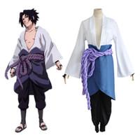 наруто косплей оптовых-Uchiha Sasuke костюмы косплей Третье поколение Наруто Shippuden одежда Японское аниме Наруто одежда Хэллоуин костюм Маскированные костюмы