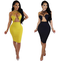 Wholesale Wholesale Cheap Bodycon Dresses - Front Cut Out Halter Midi Bodycon Dress For Women Sexy Criss Cross Club Party Dresses  Yellow Black S-XL  Wholesale Cheap DHL Fast Shipping