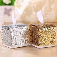Wholesale 50pcs Wedding Party Favors And Gifts Candy Box All That Glitters Gold Glitter Favor Box For Guest Gift Box