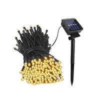 guirlande lumineuse achat en gros de-10m led cordes solaires 39FT 100 LEDs décoration de fête de sapin de Noël lampe pour jardin extérieur pelouse jardin paysage éclairage de vacances