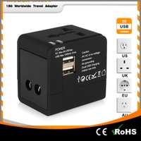Wholesale European Wall Plug Usb - Universal European Travel Plug Adapter American AU UK French 2 USB International 220 AC Wall Power Electric Outlet Foreign Converter