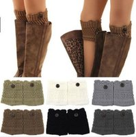 Wholesale Ladies Cashmere Socks - Crochet Boot Cuff Women Knitted Boot Cuff Boot Toppers Women Button Down Boot Socks Cuffs Winter leg warmers for lady women D748 20pairs