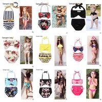 Wholesale Girl Suit Flag - Children's Swimsuit Girls Bikini Swimwear 2017 Floral USA Flag 2pcs set Bikini Girls Children Baby Girl Swimwear Bathing Suit Swimsuit 392