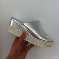 2016 mm Peep toe Rhinestone Pleated Wedges Plateformes Summer Ladies Sandales Chaussures Or argent Taille 35-39