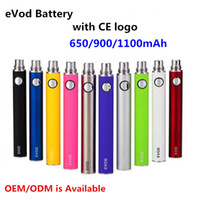 Wholesale Ego Cigarette Kit Battery Charger - eVod Battery with CE logo E Cigarettes 650 900 1100mAh 9Colors Evod Batteries 510 Thread fit eGo Charger for GS H2 MT3 T3S ETS Tank Kit