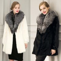 Wholesale Fake Fur Neck Warmer - Autumn Winter imitation Fuax fur imitation Fuax fox fur Jacket Fake Fur Coats Long Synthetic Outwear Plus Size