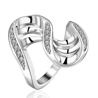 Wholesale Women S Wedding Rings - best gift Personality S line insets shape silver jewelry ring for women WR406,fashion white gemstone 925 silver Wedding Rings
