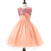 Wholesale Wholesale Sashes For Gowns - DHL 6 Size 4-12 Years Summer Kids Dresses For Girls Party Wear Tulle Flower Wedding Dresses Teenage Girl Fashion Dress Children Clothing