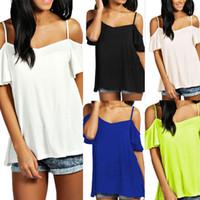 Wholesale Shoulder Cut Shirts - ladies tops Spring Summer Womens Sling V-neck pure color loose shoulder T Shirt Cut Out Off Shoulder Top