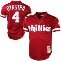 Wholesale Embroidery Collection - Retro Mitchell & Ness Lenny Dykstra Philadelphia Phillies jerseys Embroidery Cooperstown Collection Mesh Batting Practice Embroidery Jersey