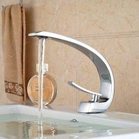 Wholesale Bathroom Ceramic Design - Wholesale- Unique Design Deck Mount Full Brass Bathroom Basin Faucet Single Handle Mixer Taps Chrome Finished