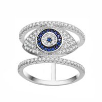 Wholesale Ring Stone Settings - KIVN Fashion Jewelry Spiritual Turkish Evil eye Tiny Delicate Pave CZ Cubic Zirconia Finger Rings for Women
