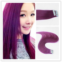 Wholesale Hair Extension Tape Wholesale Price - Wholesale Price Best Quality Hot Selling Remy Human Hair Violet Color Seamless PU Tape Hair Extension 100G Per Piece