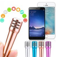 Wholesale Karaoke Laptop Microphone - New Fashion Portable Mini Microphone Stereo Condenser Mic For Iphone IOS Android Smart Phone PC Laptop Chatting Singing Karaoke